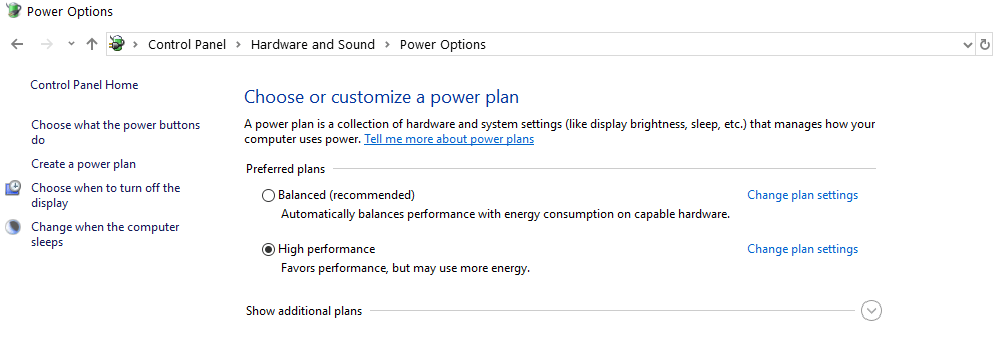 Open Windows Power Options