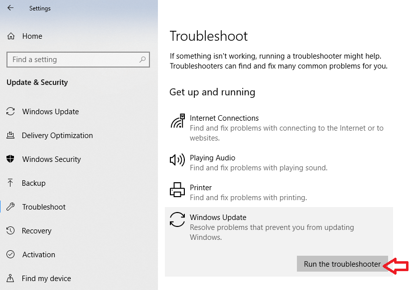 Run the troubleshooter in windows