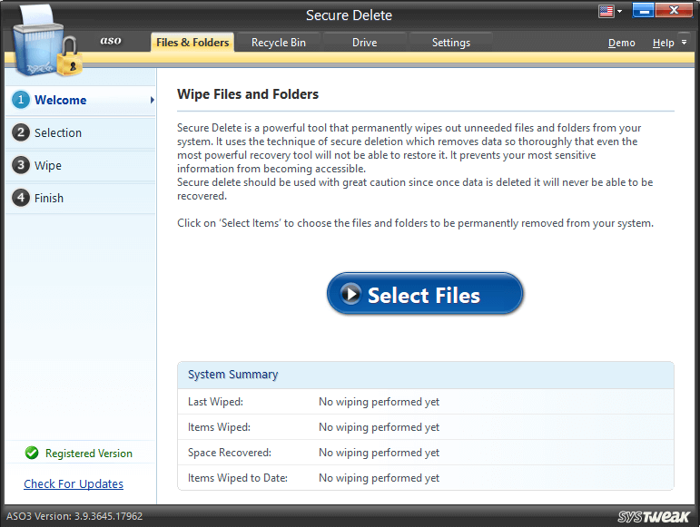 Select Files and Folders to Wipe