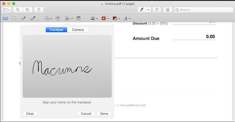 Signing PDF in email on Mac