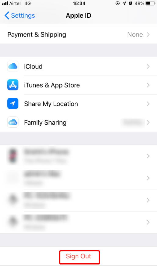 Signout Apple ID