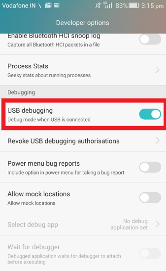 USB Debugging Option In Android