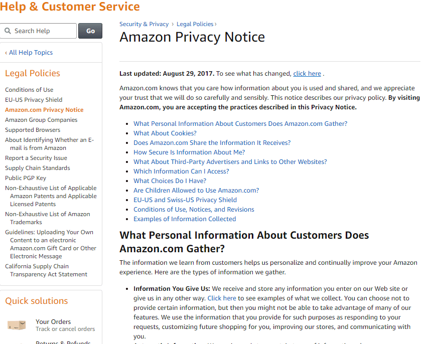Website Has Clear Privacy Policy