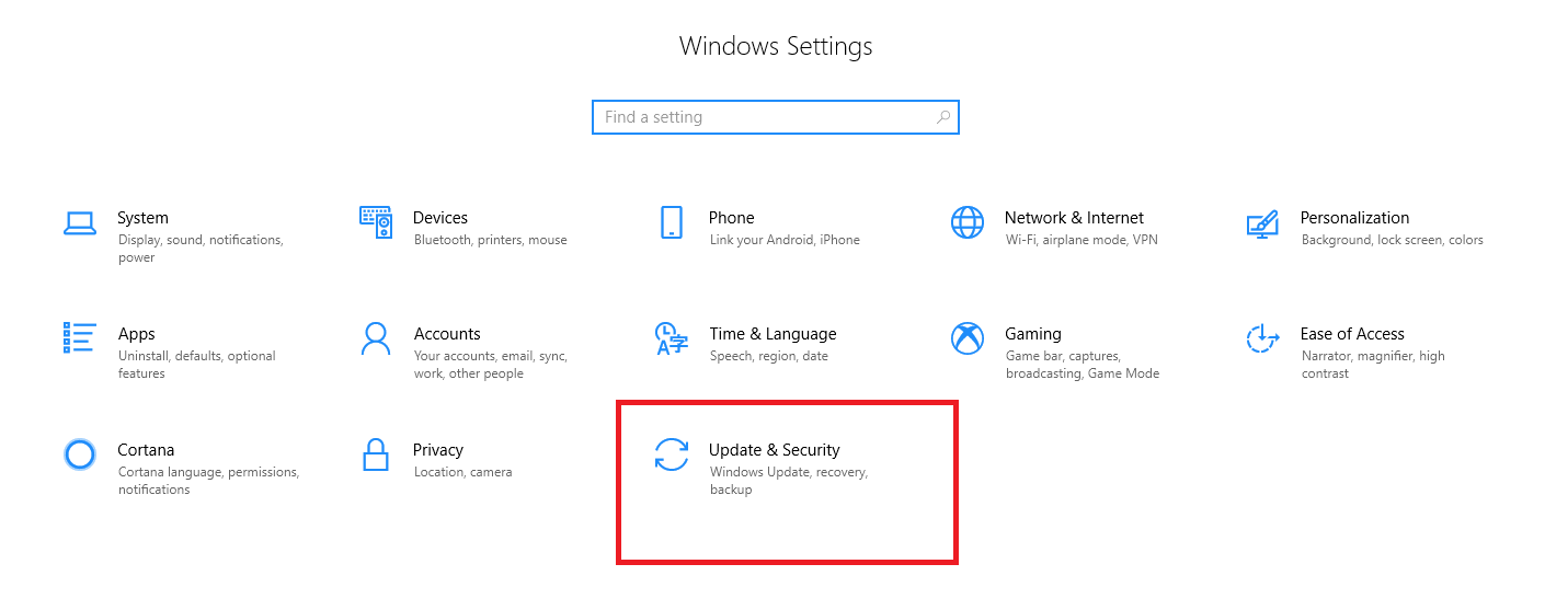 Windows Setting - Select update and Security
