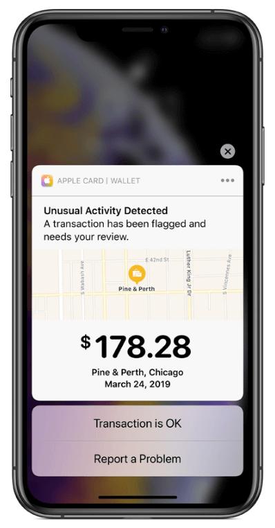 apple credit card - instant alert