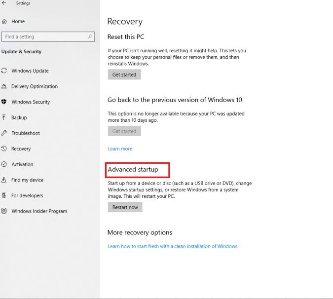 Advanced Startup tool - Windows 10 Safe Mode