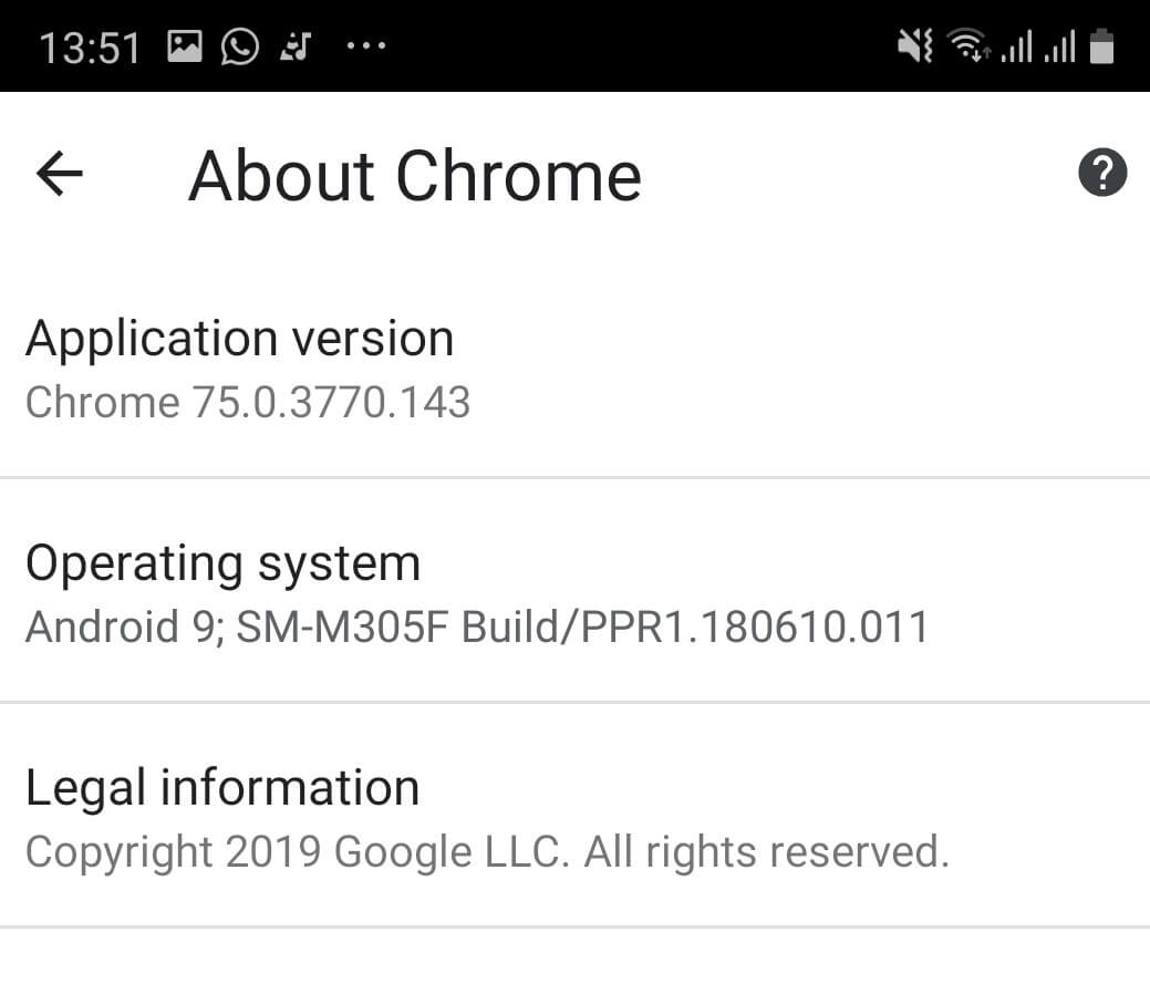 Android Chrome version check