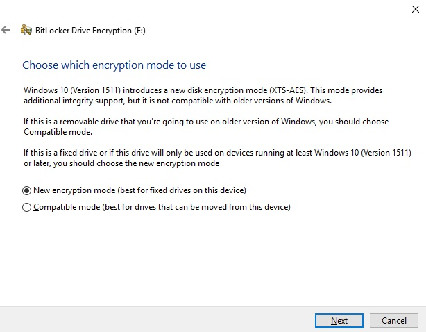 BitLocker Drive Encryption_Mode