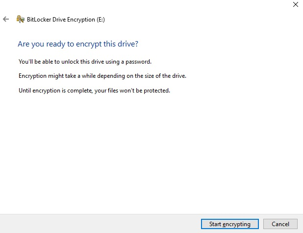 BitLocker Drive Encryption_start encryption