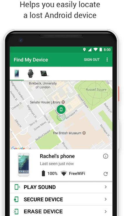 Google find my phone app