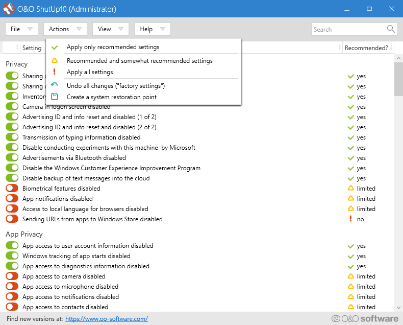 O&O ShutUp10 - Windows 10 Privacy tool