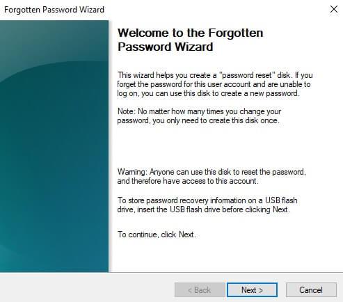 Password Reset Disk_Windows 10