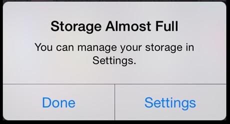 Storage full iPhone