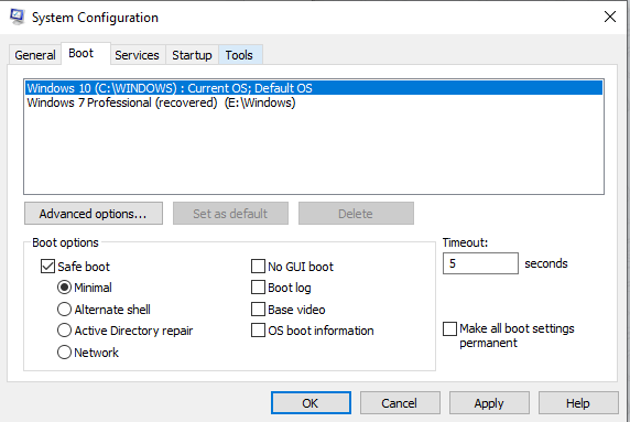System Configuration tools - Windows 10 Safe Mode