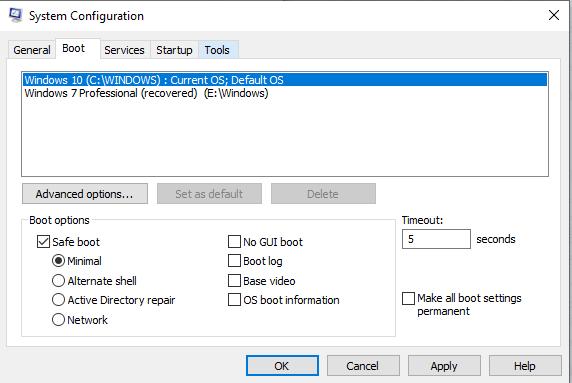 System Configuration tools - Windows 10 Safe Mode