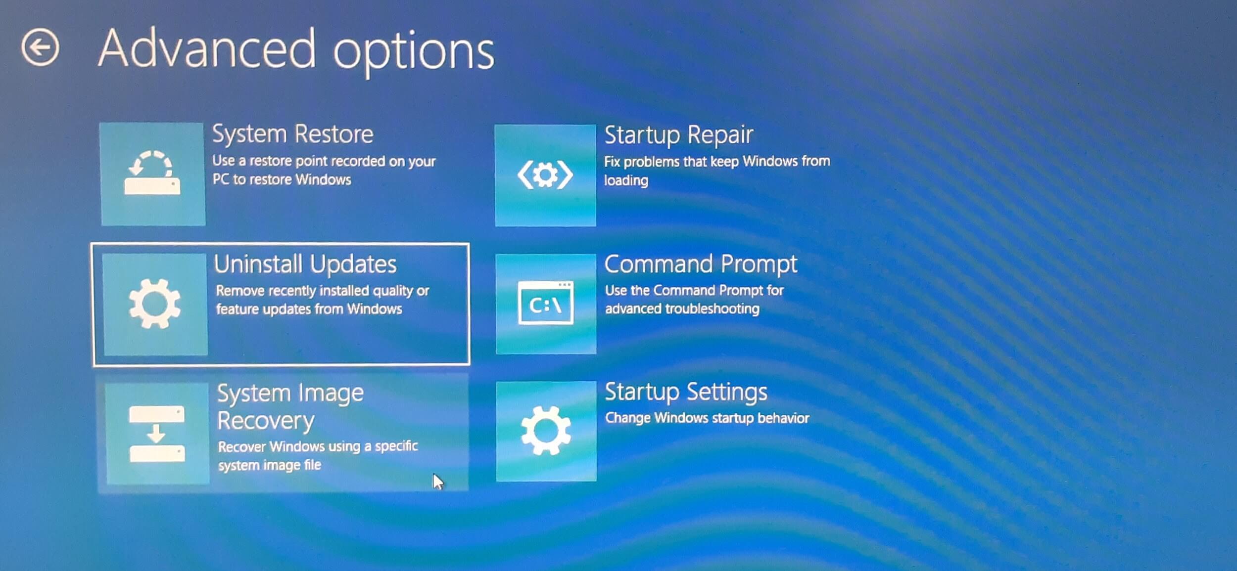 advanced options - uninstall windows update