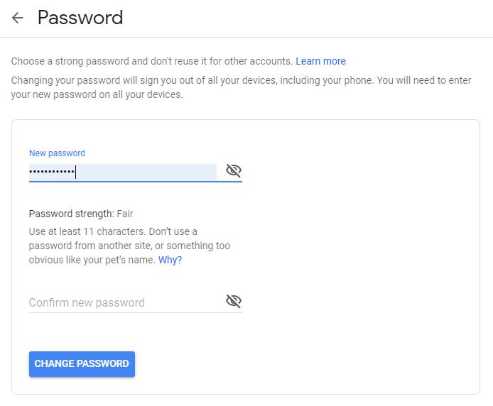 change Google Password