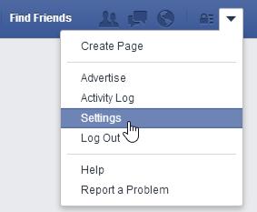 facebook settings menu