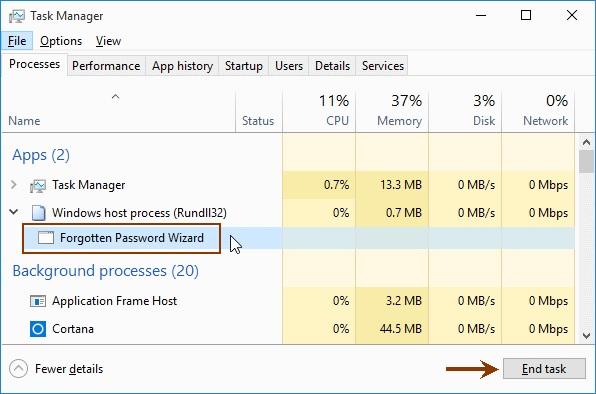 task manager_Fogotten Password Wizard