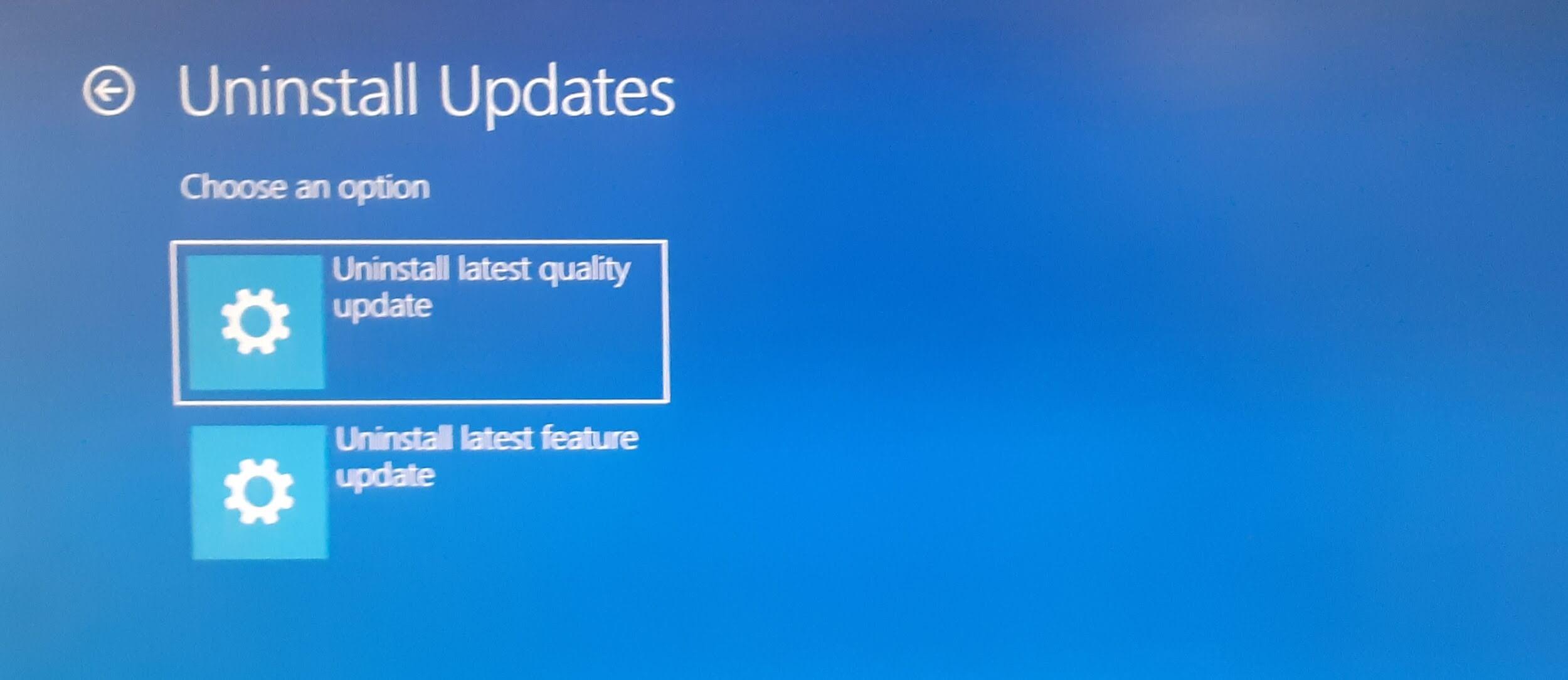 uninstall updates - uninstall windows updates