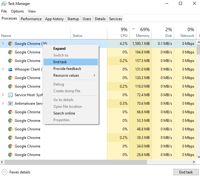 Choose Google Chrome from task manager and end task