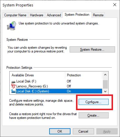 Click on Configure Button