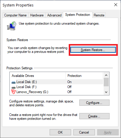 Click on System Restore Button