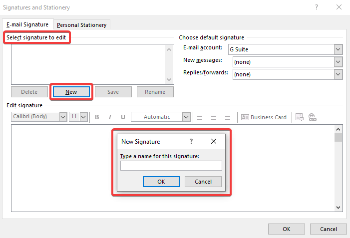 Create a new signature in Outlook