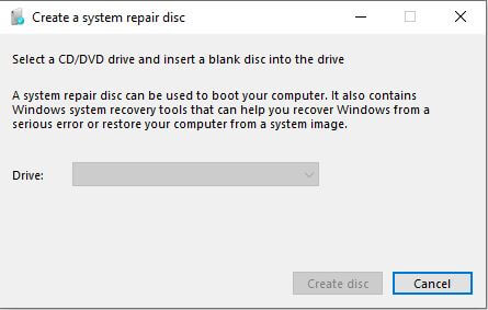 Create system repair disc Options