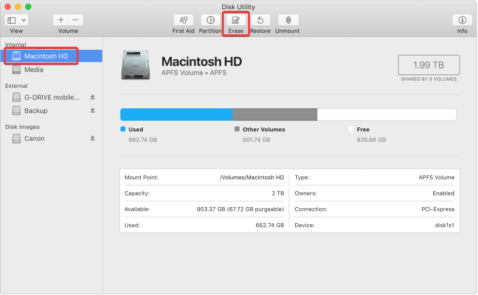 Disk Utility Macbook Air - Erase Hard Drive
