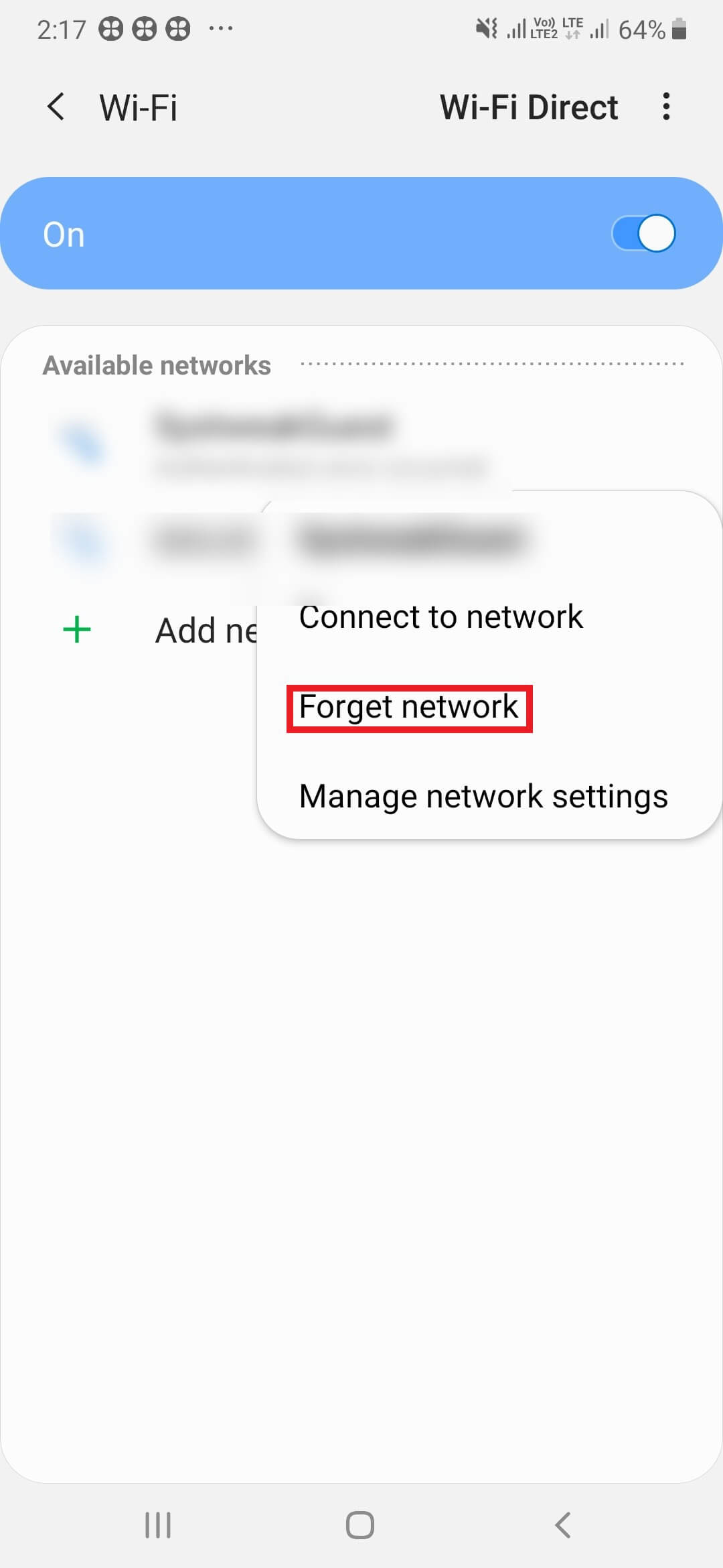 Forget Network - Android not connecting to wifi