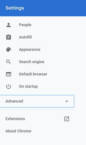 Open Advanced Setting of Chrome