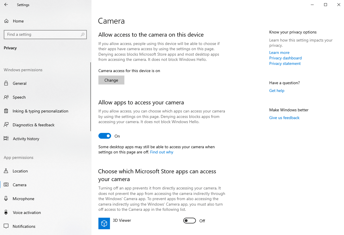 Open Camera Access setting