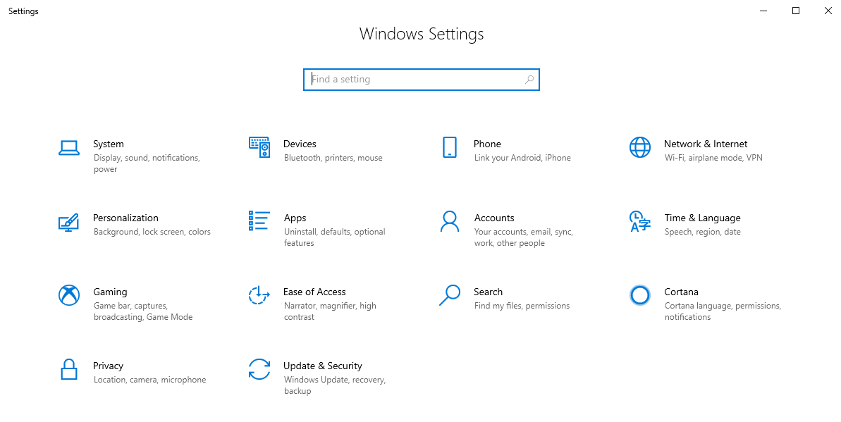 Open Windows Setting options