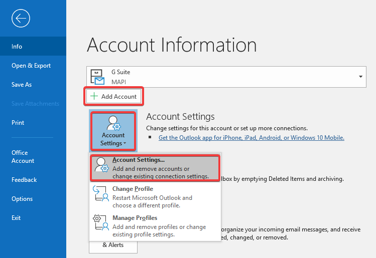 Outlook - Add account option