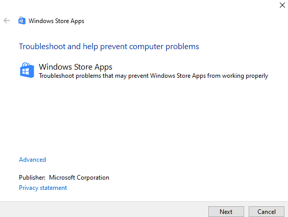 Start troubleshoot windows store apps