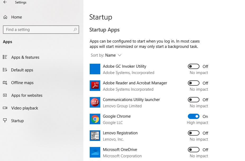 StartUp Apps sttings