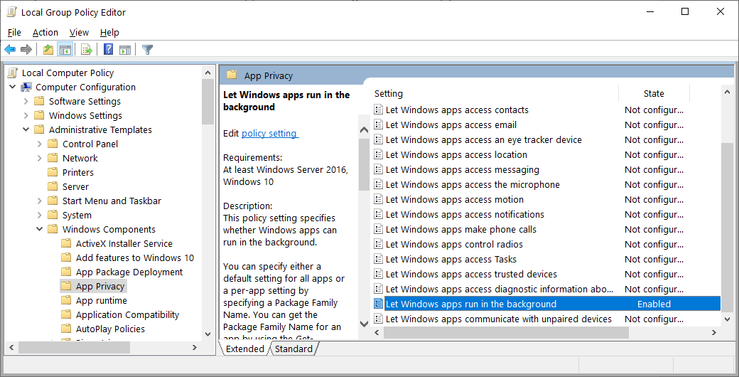 Stop Background Apps Using Local Group Policy Editor