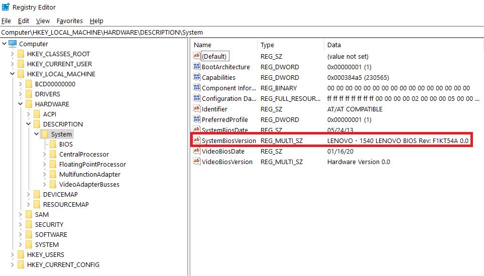 System BIOS Version