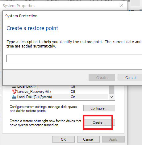Type Restore Point Name