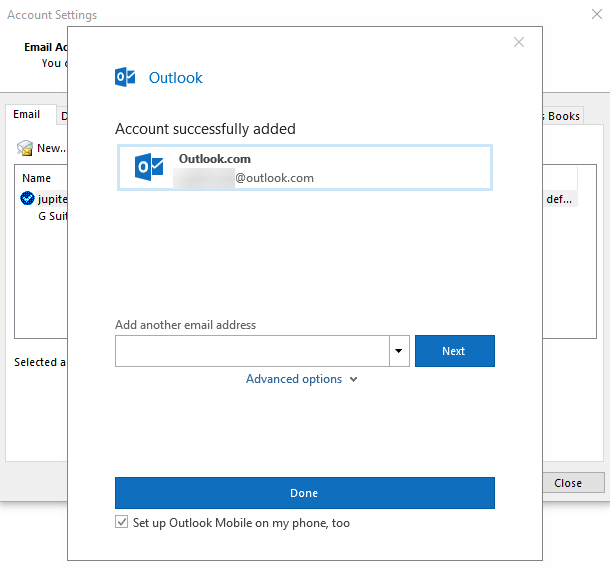 adding outlook account to Microsoft Outlook Success