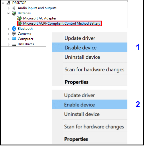 battery settings device manager