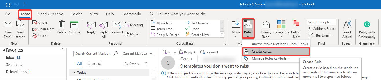 create rule for auto reply in Outlook