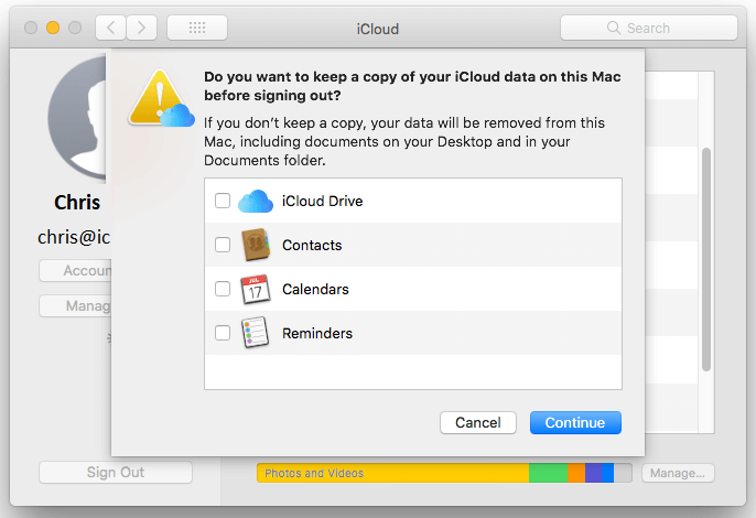 disable icloud sync on macbook air