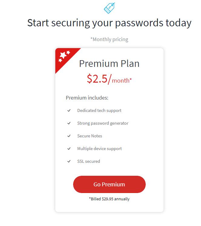 premium plan - password manager