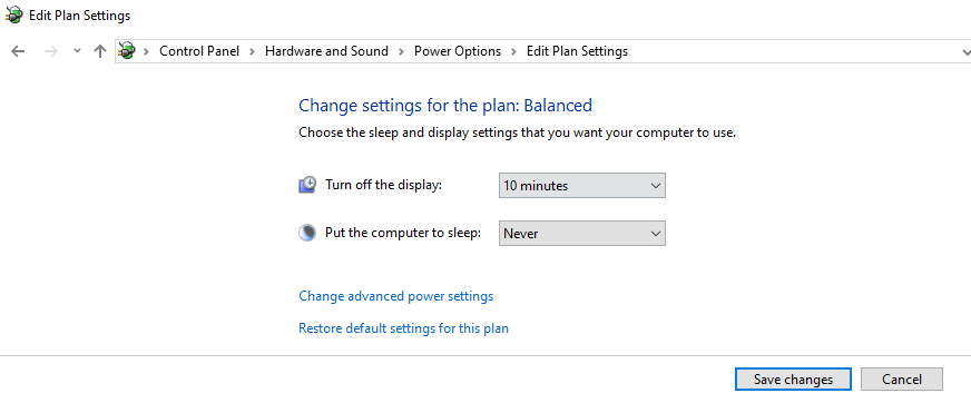 windows 10 sleep mode disable