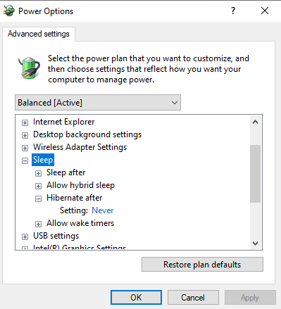 Setting to disable sleep mode in windows