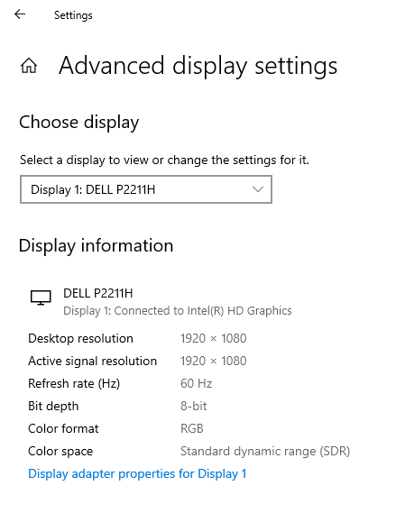 Advanced Display settings