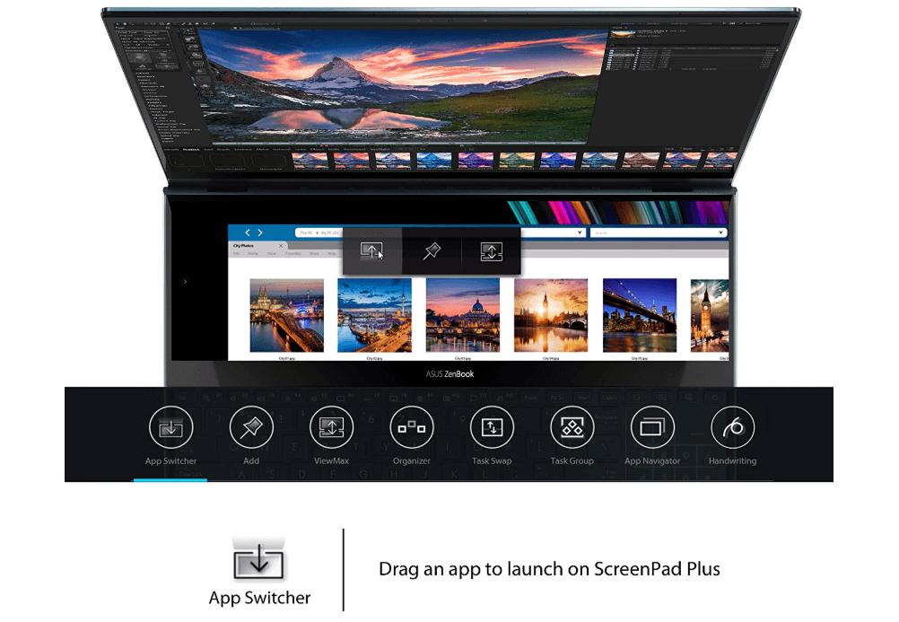 Asus ZenBook Pro Duo dual-screen Laptop App Switcher