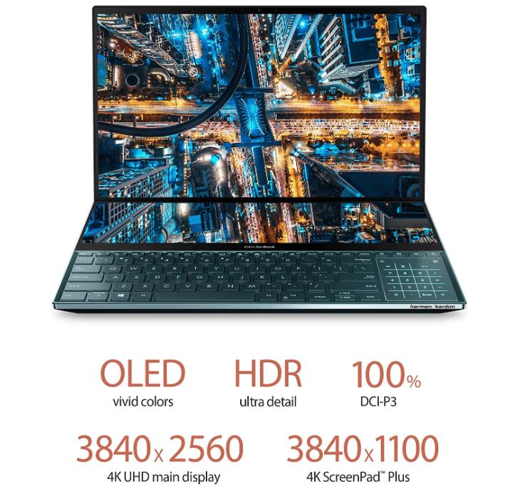 Asus ZenBook Pro Duo dual-screen Laptop features